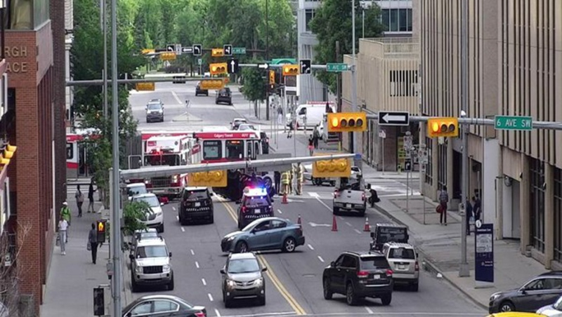 Emergency vehicles block Eighth St. S.W Tuesday morning following a crash at the Fifth Avenue intersection (image: City of Calgary)