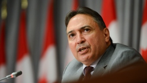 Perry Bellegarde, National Chief of the Assembly of First Nations, takes part in an event on Parliament Hill in Ottawa on Tuesday, July 7, 2020, to sign a protocol agreement to advance First Nations' exercise of jurisdiction over child and family services. THE CANADIAN PRESS/Sean Kilpatrick