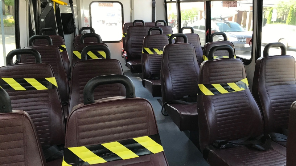 The interior of a new Oxford County regional transit mini-bus is seen with some seats marked off to ensure physical distancing in Tillsonburg, Ont., Tuesday, July 7, 2020. (Sean Irvine / CTV News)