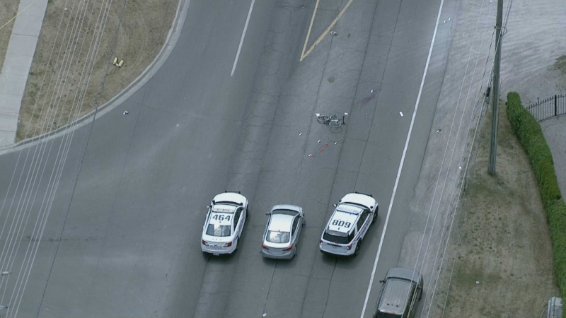 A cyclist was struck and killed by a vehicle in Whitby this morning.