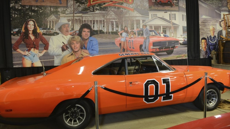 "One of the 1969 Dodge Chargers driven in the television series ""The Dukes of Hazzard"" sits in the Volo Auto Museum in Volo, Ill., on June 26, 2015. (Paul Valade/Daily Herald via AP)"