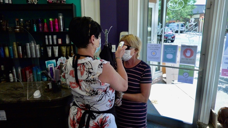 Clients welcomed back at the The Look Hair Studio in Kingsville, Ont., on Tuesday, July 7, 2020. (Chris Campbell / CTV Windsor)