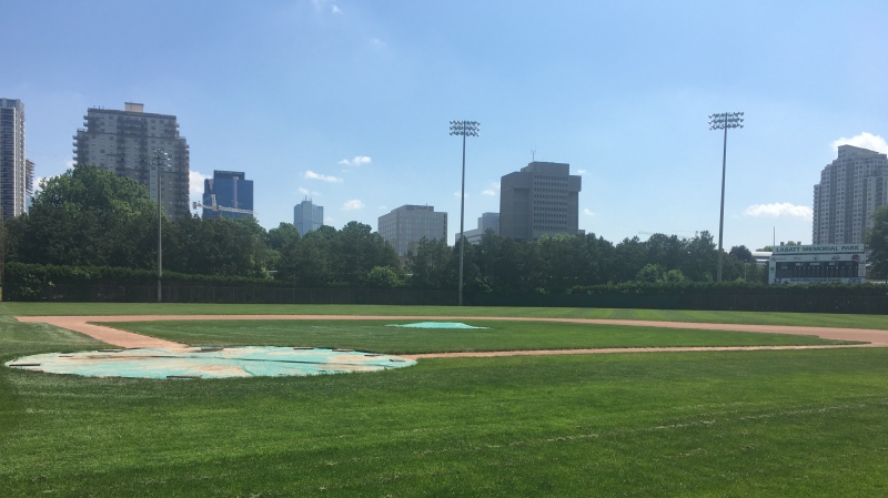 An empty Labatt Park in London, Ont. is seen on Tuesday, July 7, 2020. (Brent Lale / CTV News)