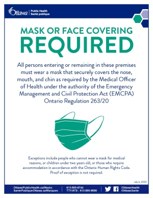 OPH POSTER: Mask or face covering required