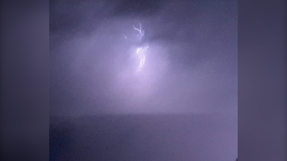Lightning from thunderstorm in North Bay