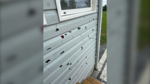 The siding of the DeLenardo-Birch family's home after a violent thunderstorm Jul. 3/20. (Tracy DeLenardo-Birch)