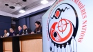 Assembly of First Nations (AFN) National Chief Perry Bellegarde, second from right, is joined by First Nations leaders as they discusses the current situation and actions relating to the Wet'suwet'en people during a press conference at the National Press Theatre in Ottawa on Tuesday, Feb. 18, 2020. THE CANADIAN PRESS/Sean Kilpatrick