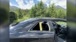 Daniel Gagnier and Felecia McIntyre-Macready were tenting near Lake Louise when they woke up to find their car's rear window smashed and everything left inside missing. (Courtesy Daniel Gagnier and Felecia McIntyre-Macready)