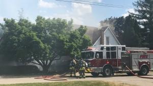 Fire crews battle a blaze on Kitchener's Locust Street (Dan Laukner / CTV News Kitchener)