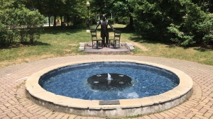 The fountain in front of Baden's Sir John A. Macdonald statue was damaged over the weekend (Stephanie Villella / CTV News Kitchener)