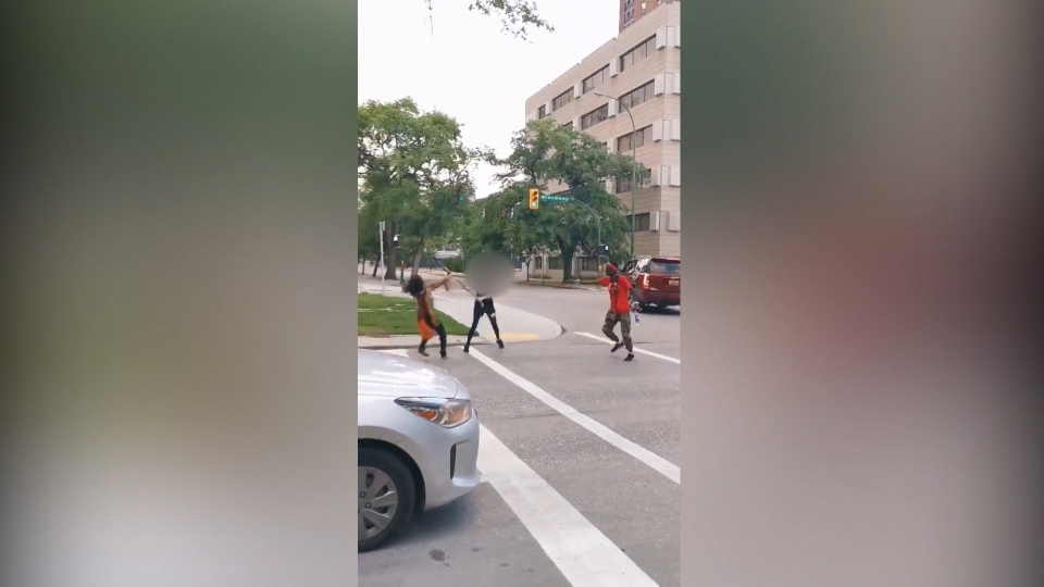 A still from a video posted on social media shows two protesters being attacked by someone wielding a hockey stick at a Black and Indigenous Lives Matter rally on Saturday (Video still)