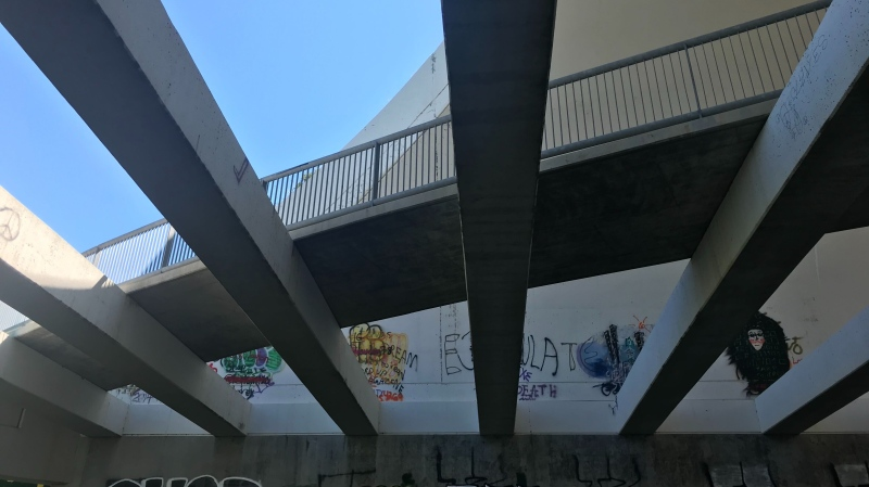 Thousands drive over the Whitemud Creek every day but what many people might not know is that underneath the overpass lies an unique archway that wraps around a pedestrian bridge. Tuesday July 07, 2020 (Darcy Seaton/CTV News Edmonton)