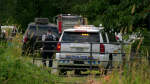 Police respond to a suspicious fire in the small community of Deroche, B.C. on July 7, 2020.