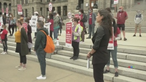 B.C. hotel workers at a rally on the steps of the B.C. legislature on July 7, 2020. (CTV News)