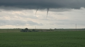Funnel clouds spotted near Carstairs south of Red Deer. Tuesday July 7, 2020 (Courtesy: Dave Boyle)