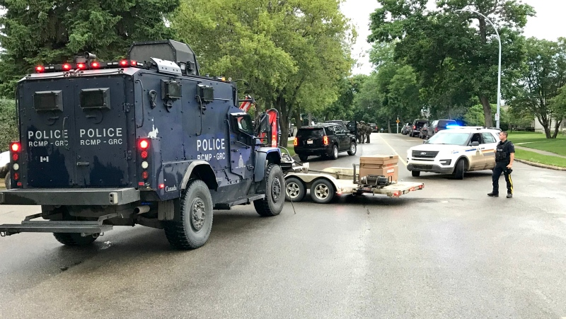A tactical team and armoured vehicle were brought to Spruce Grove Tuesday night. Tuesday July 7, 2020 (Sean Amato/CTV News Edmonton)
