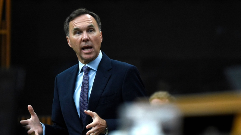 Minister of Finance Bill Morneau rises during a meeting of the Special Committee on the COVID-19 Pandemic in the House of Commons on Parliament Hill in Ottawa, on Wednesday, June 17, 2020. THE CANADIAN PRESS/Justin Tang