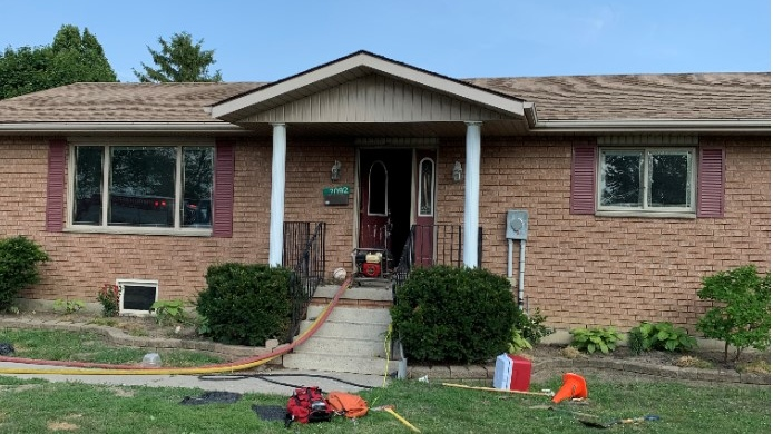 Fire crews were called to 7092 Pain Court Line in Pain Court, Ont., on Tuesday, July 8, 2020. (Courtesy Chatham-Kent Fire)
