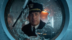 """This image released by Apple TV Plus shows Tom Hanks in a scene from """"Greyhound."""" (Apple TV + via AP)"""