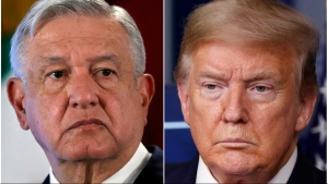 This combination of file photos shows Mexican President Andres Manuel Lopez Obrador, left, on Nov. 29, 2019, in Mexico City and U.S. President Donald Trump on April 17, 2020, in Washington. (AP File Photo)