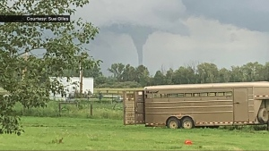Sue Giles photographed a funnel cloud near Brooks, Alta. on  the evening of July 7, 2020