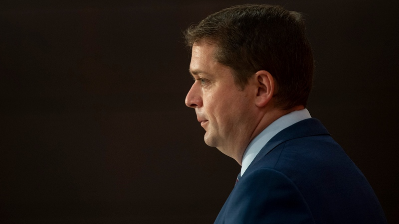 Leader of the Opposition Andrew Scheer speaks during a news conference, Wednesday, July 8, 2020 in Ottawa. THE CANADIAN PRESS/Adrian Wyld