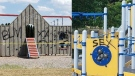 Graffiti painted on equipment at Alexandra Park in Strathroy, Ont. is seen in these images released by police on Wednesday, July 8, 2020.