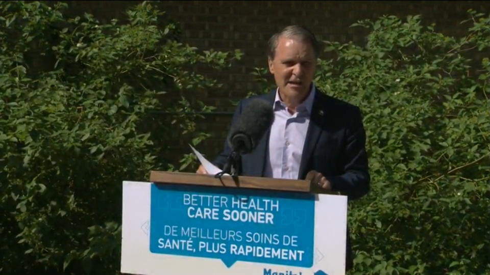Health Minister Cameron Friesen at Wednesday's announcement.