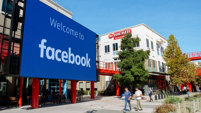 A giant digital sign is seen at Facebook's corporate headquarters campus in Menlo Park, California, on October 23, 2019. (Josh Edelson/AFP/Getty Images/CNN)