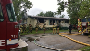 Firefighters knocked down a blaze at a mobile home park in southeast Edmonton Wednesday, July 8, 2020. (CTV News Edmonton)
