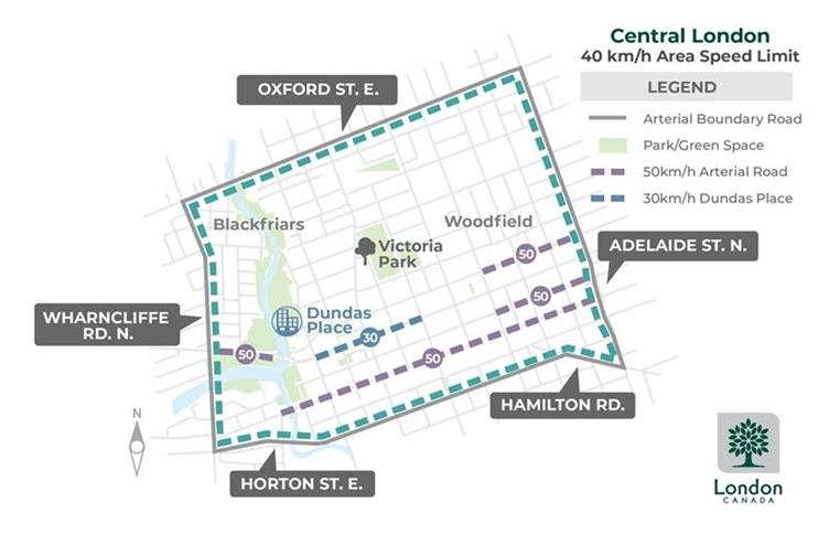 City of London's Area Speed Limits program map