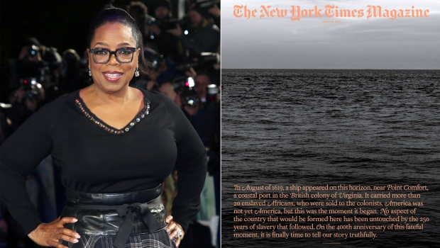 "In this combination photo, Oprah Winfrey poses for photographers at the premiere of the film ""A Wrinkle In Time"" in London on March 13, 2018, left, and cover art for a special issue of The New York Times Magazine's 'The 1619 Project.' (AP Photo, left, and The New York Times via AP)"