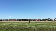 Crews working at a site near Halbrite, Sask. where a train derailed on July 8, 2020. (Taylor Rattray/CTV News)