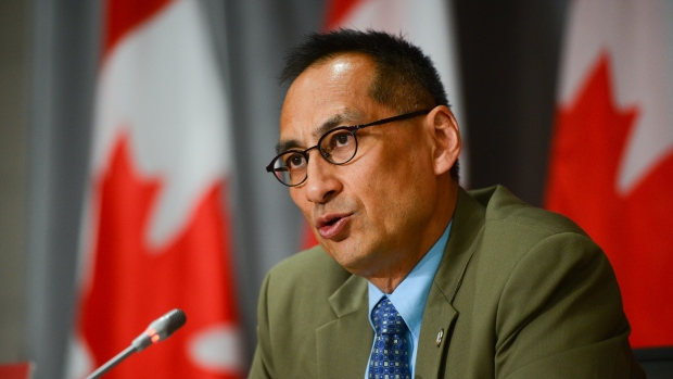 Dr. Howard Njoo, Deputy Chief Public Health Officer, speaks during a press conference on Parliament Hill amid the COVID-19 pandemic in Ottawa on Thursday, June 25, 2020. THE CANADIAN PRESS/Sean Kilpatrick