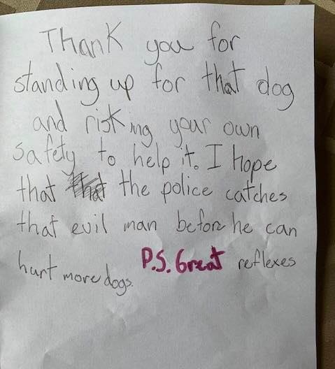 The note written by a child at the time is shown: (Lynne Humphry-Baker / Facebook)