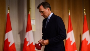 Minister of Finance Bill Morneau leaves following a press conference in the media lock-up for the federal government's Economic and Fiscal Snapshot 2020 in Ottawa on Wednesday, July 8, 2020. THE CANADIAN PRESS/Sean Kilpatrick