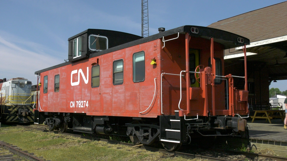 This CN caboose from 1972 is available to rent for overnight stays in Smiths Falls. (Nate Vandermeer/CTV News Ottawa)