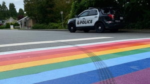 Police say a rainbow crosswalk painted near their department in West Vancouver was defaced by tire tracks. (West Vancouver police)
