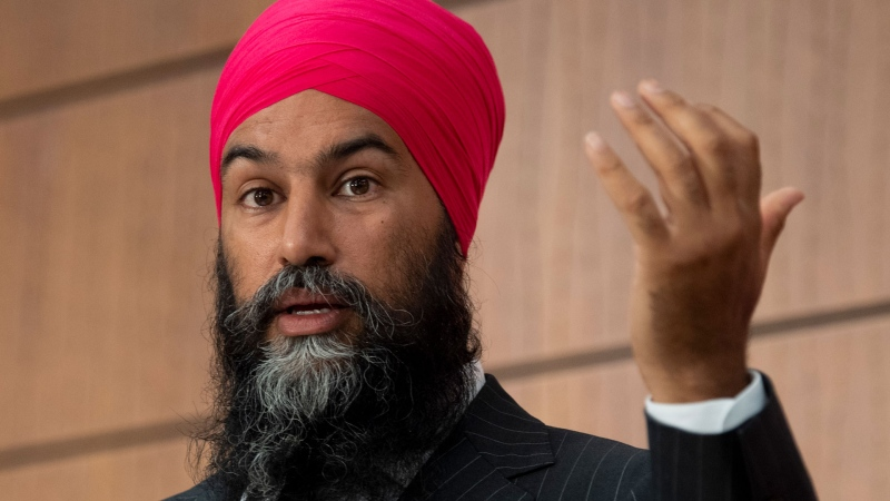 NDP Leader Jagmeet Singh speaks during a news conference, Wednesday, July 8, 2020 in Ottawa. THE CANADIAN PRESS/Adrian Wyld