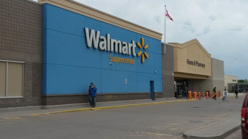 The entrance of a Walmart in Cold Lake, Alta. where a Mountie was severely assaulted with their own baton is shown. July 8, 2020. (CTV News Edmonton)
