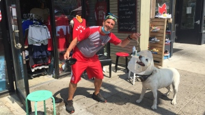 Dino Givani Scrementi and his dog, Mogley (Krista Sharpe / CTV News Kitchener)