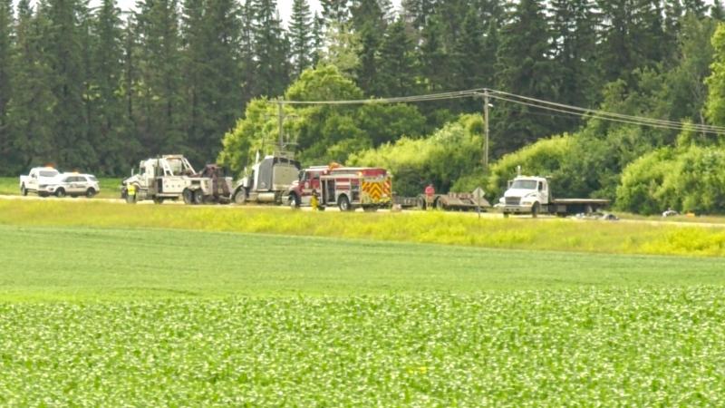 A crash involving a semi-truck and a passenger vehicle west of Bon Accord. July 8, 2020. (CTV News Edmonton)