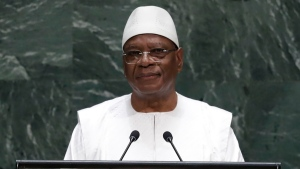 In this Sept. 25, 2019, file photo, Mali's President Ibrahim Boubacar Keita addresses the 74th session of the United Nations General Assembly, at the United Nations headquarters. In a televised midnight speech, Keita promised early Thursday, July 9, 2020, to reform the country's constitutional court in a bid to quell another round of protests calling for his resignation. (AP Photo/Frank Franklin II, File)