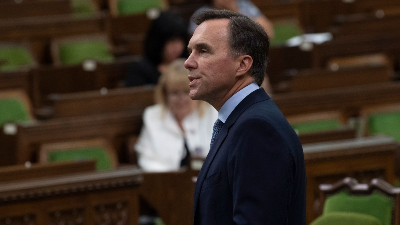 Minister of Finance Bill Morneau rises in the House of Commons to deliver a fiscal snapshot, Wednesday, July 8, 2020 in Ottawa. THE CANADIAN PRESS/Adrian Wyld