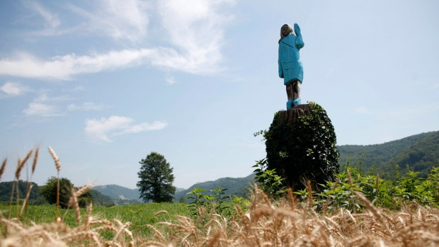 In this July 5, 2019 photo, a sculpture created by American artist Brad Downey depicting Melania Trump is seen in her hometown in Sevnica, Slovenia. (Miro Majcen / AP)