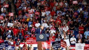 U.S. President Donald Trump speaks at BOK Center during his rally in Tulsa, Okla., on June 20, 2020. (Stephen Pingry / Tulsa World via AP, File)