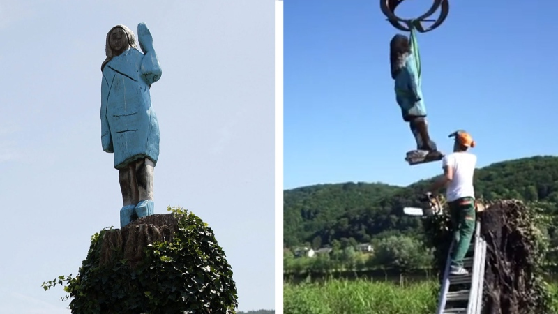 A statue of Melania Trump has been removed from near her hometown in Slovenia after being badly burned by vandals.