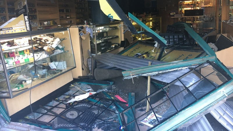 One of Hav-A-Cigar's owners says thieves stole approximately $20,000 worth of products but that the damage caused to the store is worse than the theft itself. (Evan Klippenstein/CTV News Edmonton)