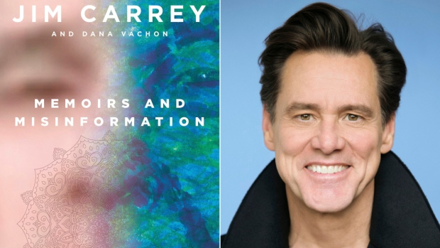 The cover of 'Memoirs and Misinformation,' left, and a portrait of author-actor Jim Carrey. (Knopf, left, Austin Hargrave / Paramount via AP)