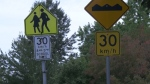 A school zone sign seen in Vancouver.